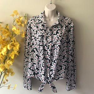 Anne Klein floral white shirt top long sleeve L